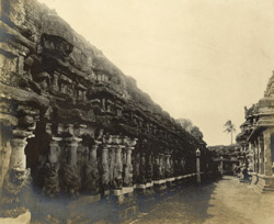 South-west view of the shrine, Kailasanatha Temple, Great Conjeeveram, Chingleput District